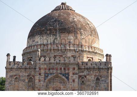 Ancient Bara Gumbad Tomb Lodi Gardens New Delhi India, Tomb Dome Showing Against A Blue Sky