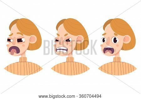 Set Of Human Character, Women, Young Girl. Flat Illustration Of Head, Face, Different Emotions (disg
