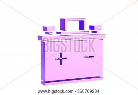 Purple Car Battery Icon Isolated On White Background. Accumulator Battery Energy Power And Electrici