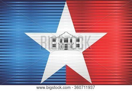 Shiny Grunge Flag Of The San Antonio - Illustration,  Three Dimensional Flag Of San Antonio