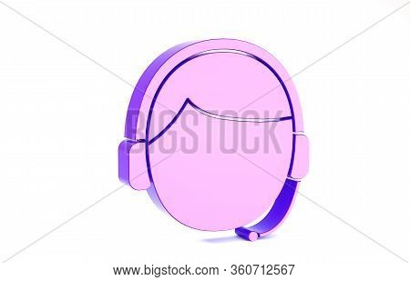 Purple Man With A Headset Icon Isolated On White Background. Support Operator In Touch. Concept For