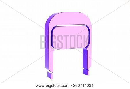 Purple Winter Hat With Ear Flaps Icon Isolated On White Background. Minimalism Concept. 3d Illustrat