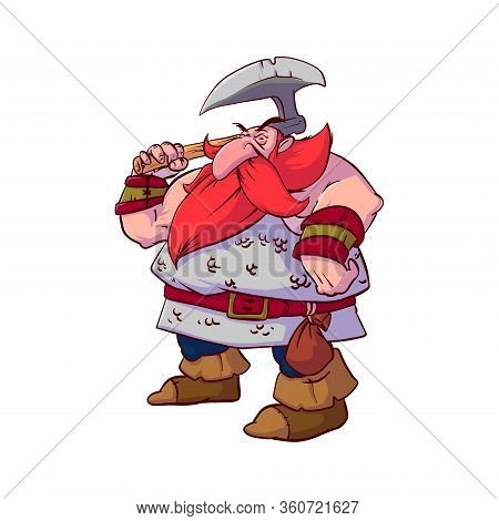 Colorful Vector Illustration Of A Cartoon Dwarf Warrior, With Red Hair And Beard, Wearing A Chain Ar
