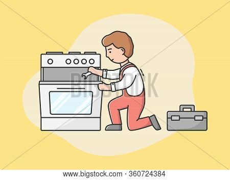 Concept Of Master Call, Appliances Service. Professional Worker Repairman Fixes Gas Stove Oven. Char