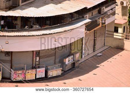 Mumbai, Maharashtra / India - 22 March 2020: Abstract Background Of Lockdown ,city Shops, Store Lock
