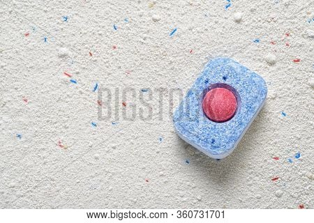 Dishwasher Detergent Tablet Red And Blue Color On Powder With Copy Space