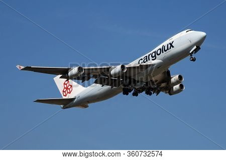 Findel - Luxembourg / July 8, 2018: Cargolux Boeing 747-400 Jumbo Jet Lx-gcl Cargo Plane Departure A