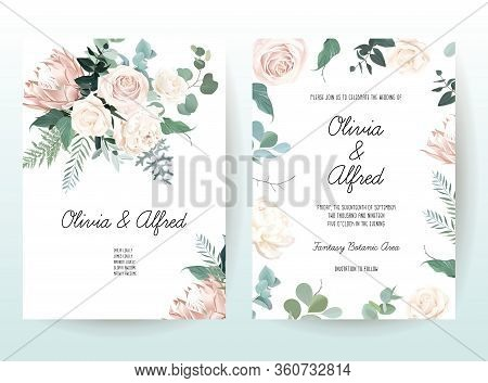 Silver Sage And Blush Pink Flowers Vector Design Frames. Creamy Beige And Dusty Rose, Peony, Protea,