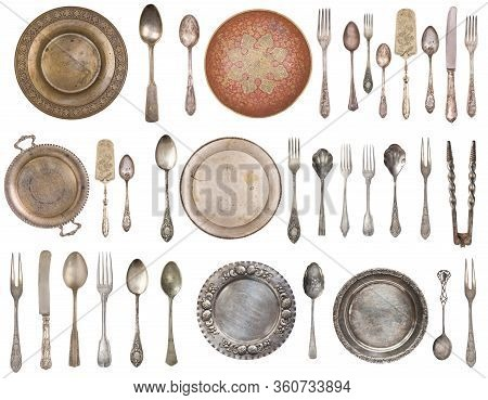 Vintage Silverware, Antique Spoons, Forks, Knives, Cake Shovels And Dishes Isolated On Isolated Whit