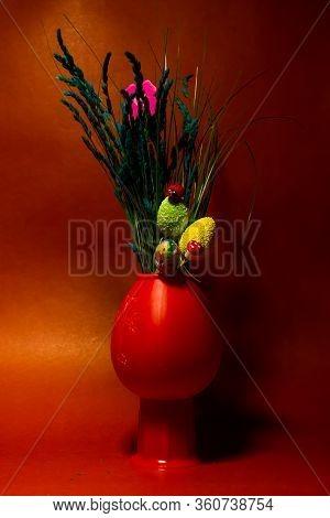 Red Ladybug On The Green Easter Egg, Red Wooden Ladybug On The Green Easter Egg, Decorative Easter V