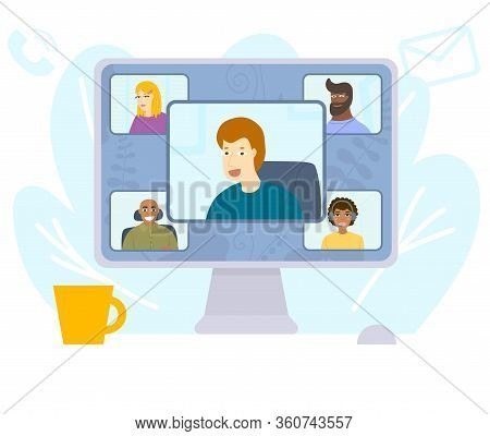 Video Conference During Quarantine. Stay Home. Desktop Computer With Group Of Colleagues Taking Part