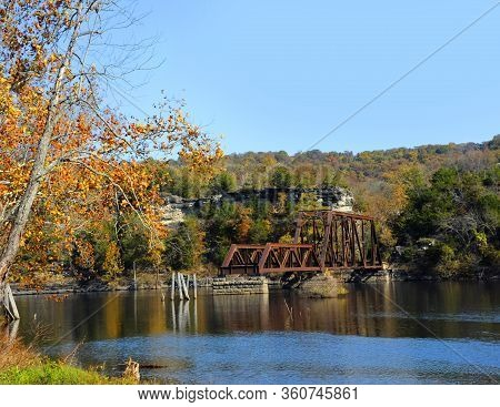 Remains Of The Eureka Springs And North Arkansas Railway Bridge Ends In The Middle Of Table Rock Lak