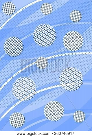 Light Blue Background With Waves, White Halftone Circles And Areas With Halftone Effect. Modern Mini