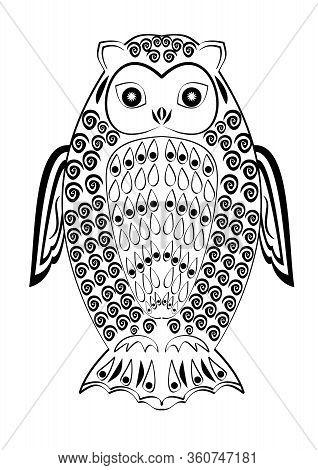 Monochrome Tribal Owl Tatoo, Symmetric Owl Figure, Black And White Drawing, Wisdom Symbol