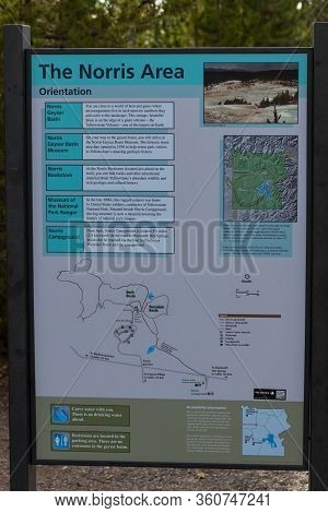 Yellowstone National Park, Usa - July 14 2014: A Metal Sign Showing The Norris Area At Yellowstone N