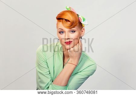 Closeup Portrait Skeptical Pin Up Retro Style Woman Looking Suspicious, Some Disgust On Her Face Mix