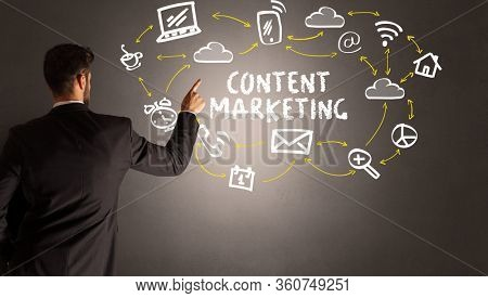 businessman drawing social media icons with CONTENT MARKETING inscription, new media concept