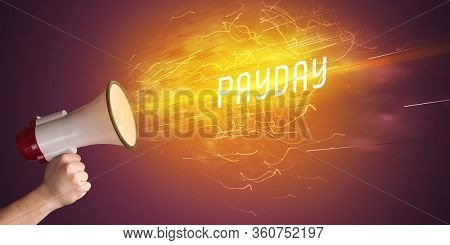 Young girld shouting in megaphone with PAYDAY inscription, online shopping concept