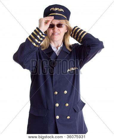 Female Pilot Putting On Her Cap