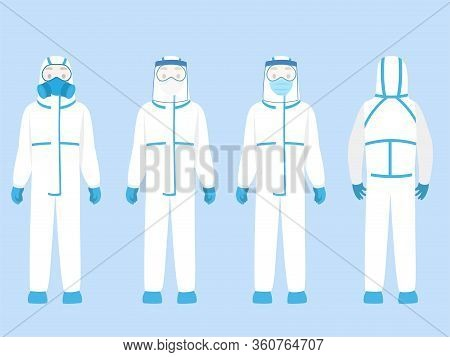 Set Of People Character Wearing In Ppe Personal Protective Suit Clothing Isolated And Safety Equipme