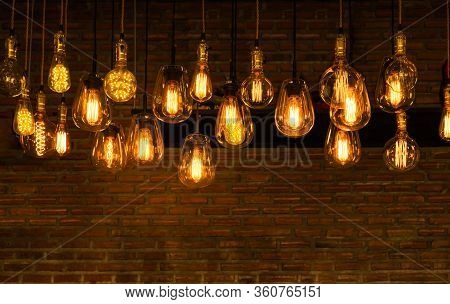 House Interior Of Loft And Rustic Style. Beautiful Vintage Luxury Light Bulb Hanging Decor Glowing I