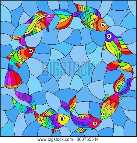 Illustration In Stained Glass Style With Bright Rainbow Abstract Fish On A Blue Background