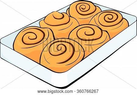 Cinnabon Buns With Cinnamon On A Tray. Cinnamon Rolls And Chocolate Vector Stock Illustration With B