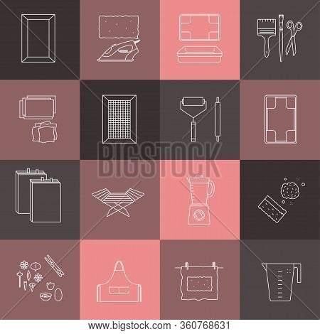 Vector Illustration. Thin Line Icons Of The Items For Hand Papermaking