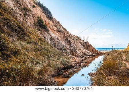 Kackeraboite Creek Flowing Into Port Phillip Bay. Mornington Peninsula, Victoria, Australia