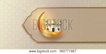 Eid Mubarak Islamic Design With Gold Frame, Crescent Moon, Mosque And Islamic Traditional Pattern