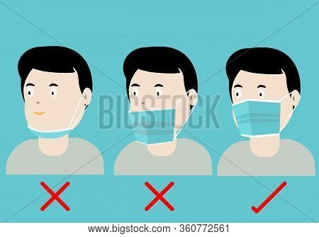 Concepts Of How To Wear Protective Mask Correctly. Illustration Of Man Wearing Protective Hygienic M