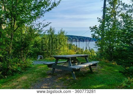 View Of Coastal Landscape In Fundy Trail Parkway Park, New Brunswick, Canada