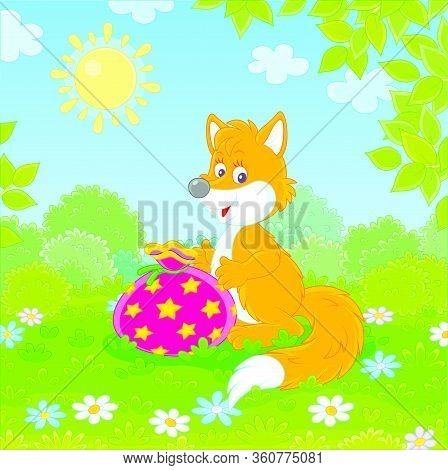 Friendly Smiling Red Fox Holding A Beautiful Bag With A Holiday Gift On Green Grass Of A Pretty Fore