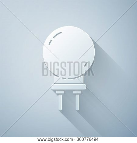 Paper Cut Light Emitting Diode Icon Isolated On Grey Background. Semiconductor Diode Electrical Comp