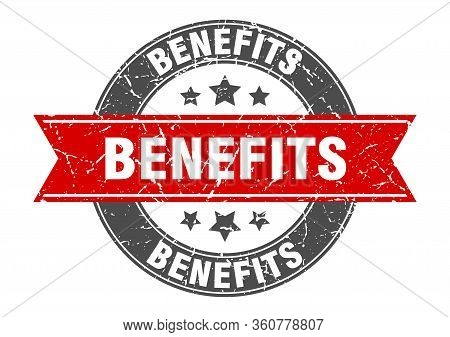 Benefits Round Stamp With Red Ribbon. Benefits