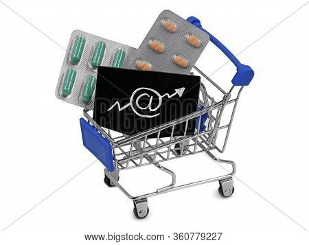 Shopping Cart, Trolley Full Of Various Pharmaceutical Pills On White Background, Concept Of Growing