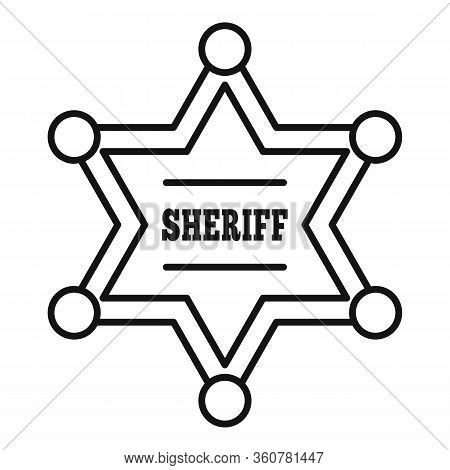 Sheriff Star Icon. Outline Sheriff Star Vector Icon For Web Design Isolated On White Background
