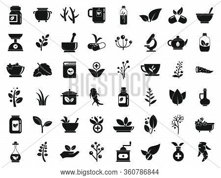Medicinal Herbs Icons Set. Simple Set Of Medicinal Herbs Vector Icons For Web Design On White Backgr