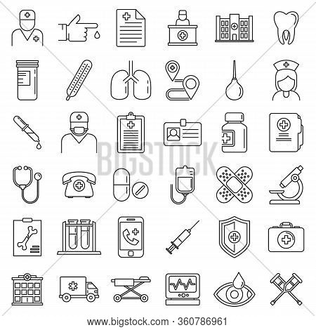 Private Clinic Hospital Icons Set. Outline Set Of Private Clinic Hospital Vector Icons For Web Desig