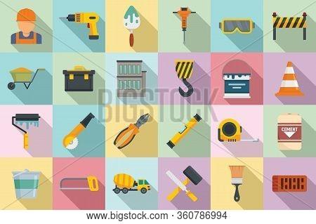 Building Reconstruction Icons Set. Flat Set Of Building Reconstruction Vector Icons For Web Design