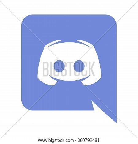 Emblem Of Discord. Vector Isolated Logo Of Freeware Application And Digital Distribution Platform De
