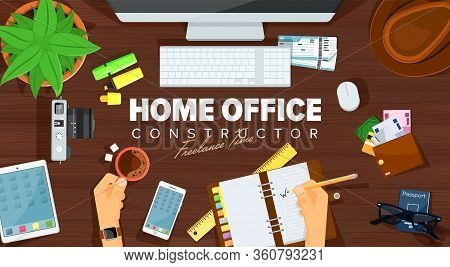 Home Office Desk. Template Design Of Home Office Working View From Above. Remote Work Concept Illust