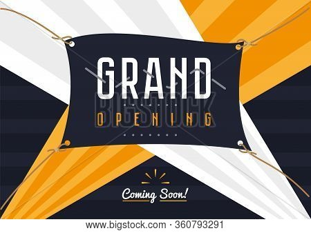 Grand Opening. Event Flyer Template Of Grand Opening Celebration Ceremony. Opening Soon Banner Desig