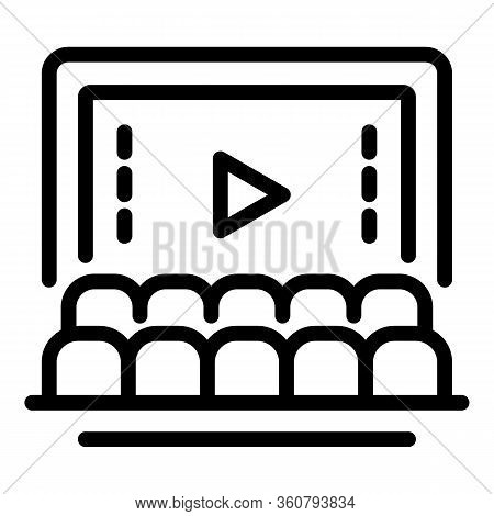 Cinema Hall Icon. Outline Cinema Hall Vector Icon For Web Design Isolated On White Background