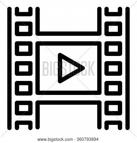 Play Clip Icon. Outline Play Clip Vector Icon For Web Design Isolated On White Background