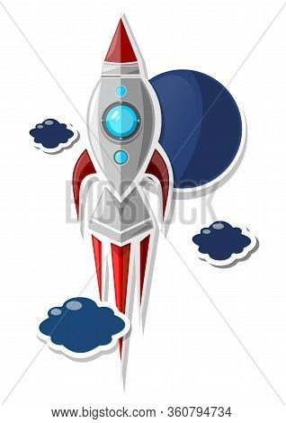 Space Rocket. Paper Soars Rocket Isolated On White Background. Vector Illustration.