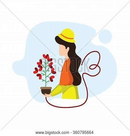 Vector Illustration Young Woman Taking Care Plants. Beautiful Woman Watering Houseplants, Women Cari