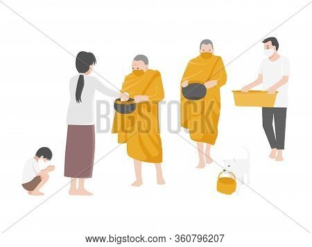 Give Alms, People Make Merit By Offering Food To Monks And Wearing A Surgical Protective Medical Mas