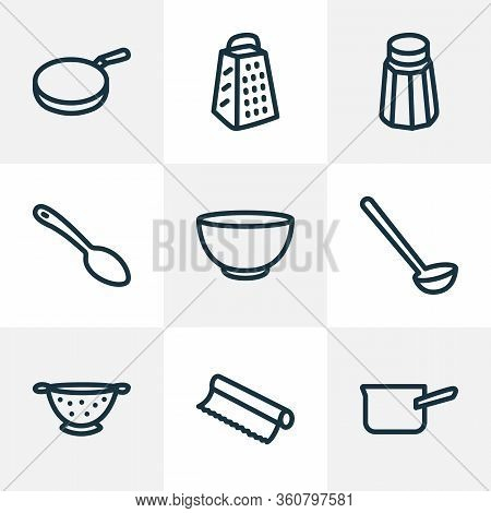 Utensil Icons Line Style Set With Pan, Salt, Bowl And Other Slicer Elements. Isolated Vector Illustr