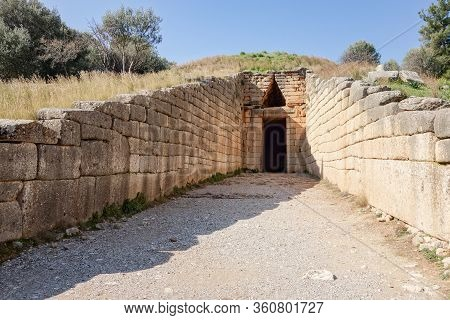 Entrance To The Treasury Of Arteus (tomb Of Agamemnon) Near Museum Of Mycanae In Greece With Strong